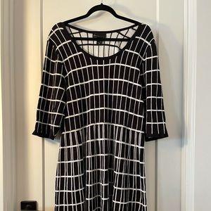 EUC Lane Bryant Black/White Square Sweater Dress
